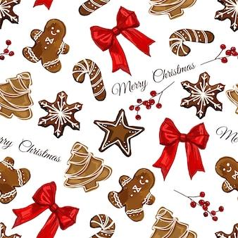 Natal sem costura vetor padrão de fundo biscoitos de gengibre estrela floco de neve do homem de gengibre