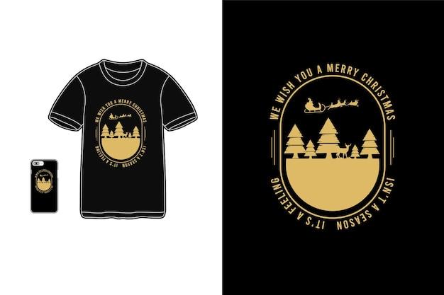 Natal, tipografia de maquete de siluet de mercadoria de camiseta
