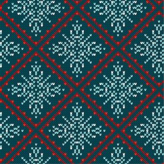Natal tradicional de malha padrão ornamental com flocos de neve. tricô de natal sem costura padrão