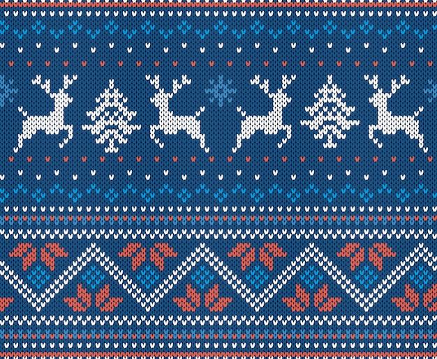 Natal tricotar ornamento geométrico com alce. padrão de malha para um suéter