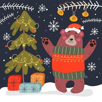 Natal urso floresta inverno animal comemoração ano novo