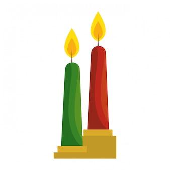 Natal, velas, decorativo, ícone