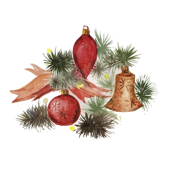Natalférias natal ano novo árvore de natal brinquedos presentes aquarela crianças fofa desenhada à mão