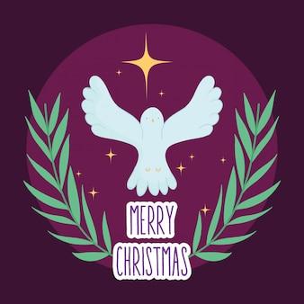 Natividade de manjedoura de estrela de ouro de pombo, feliz natal