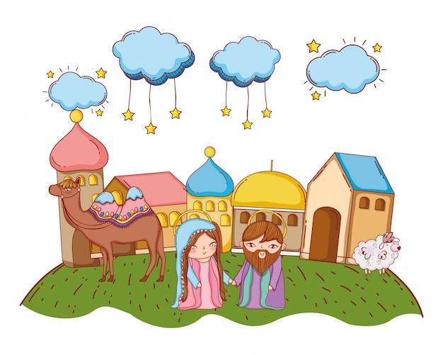 Natividade dos desenhos animados de natal