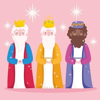 Natividade, ilustração em vetor manjedoura fofa três reis sábios