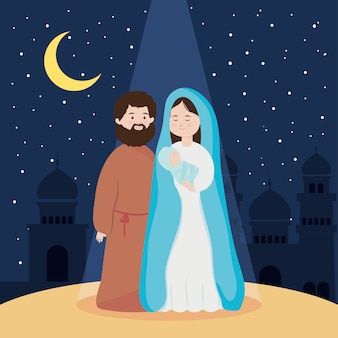 Natividade, manjedoura santa maria bebê jesus e joseph noite lua