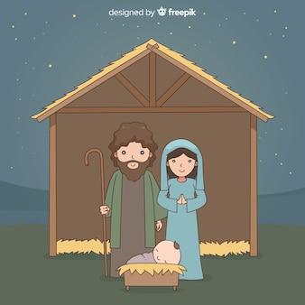 Natividade noite mão desenhada fundo