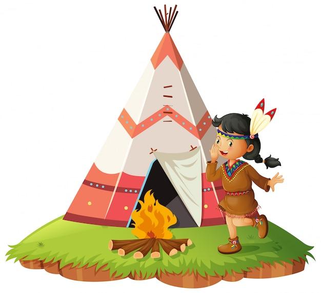 Nativo americano woth teepee