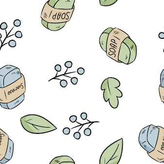 Natural material sabonete e xampu sem costura padrão. produto ecológico e resíduo zero. casa verde e sem plástico
