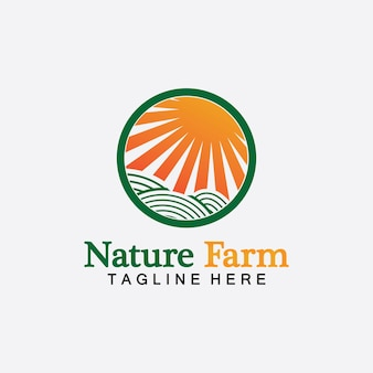 Nature farm e agricultura design de ilustração de logotipo de vetor. fazenda do sol. ilustração isolada da paisagem da fazenda de campos e do sol. conceito de agricultura, colheita, fazenda natural, produtos orgânicos.