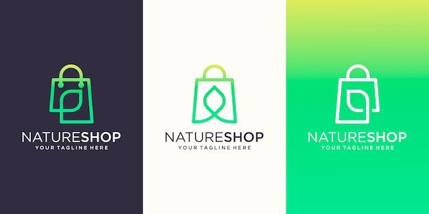 Nature shop, bolsa combinada com modelo de design de logotipo de estilo de arte de linha de folhas,