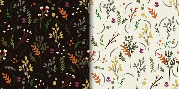 Natureza abstrata folha e flor padrão sem emenda