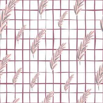 Natureza abstrata padrão sem emenda em estilo geométrico com formas aleatórias de penas roxas. fundo quadriculado. perfeito para design de tecido, impressão têxtil, embalagem, capa. ilustração vetorial.