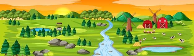 Natureza agrícola com paisagem de celeiros e cena do pôr do sol