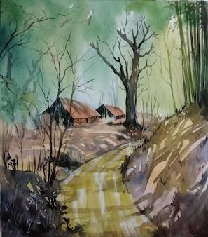 Natureza aquarela com bela árvore dentro da paisagem da estrada