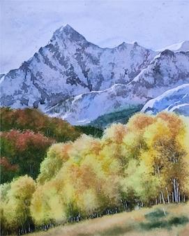 Natureza aquarela e bela paisagem