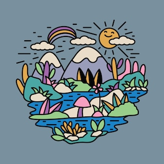 Natureza aventura selvagem montanha rio colorido