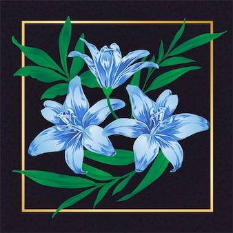 Natureza azul floral da folha do vintage da flor