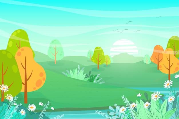 Natureza bela paisagem com ilustração plana. vale e floresta de abetos, paisagem de turismo natural