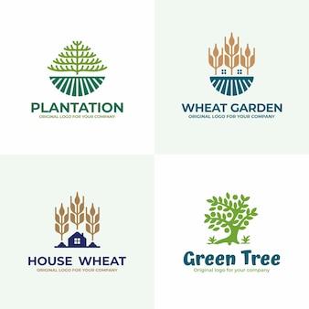 Natureza, campo, coleção de design de logotipo de agricultura.