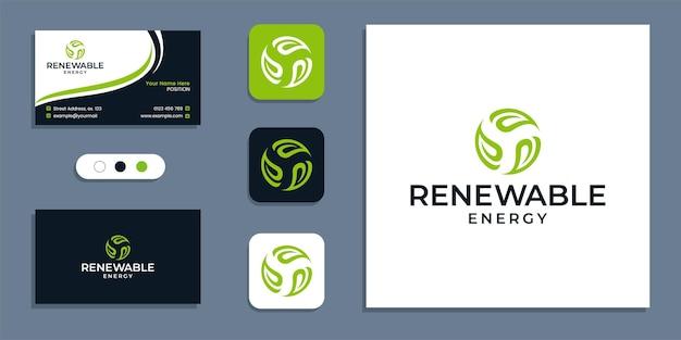Natureza, círculo de folha, logotipo de energia renovável e modelo de inspiração de design de cartão de visita