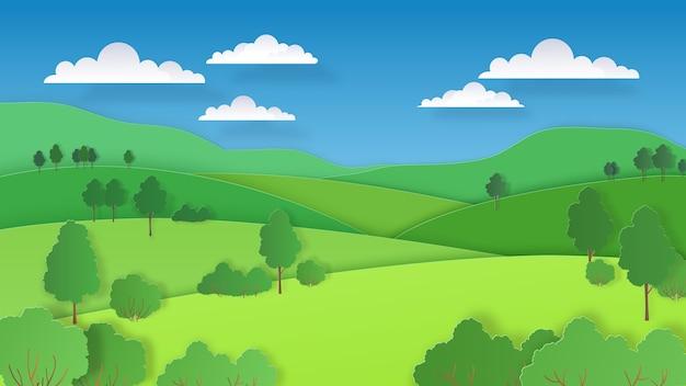Natureza, colinas verdes, campos, montanhas e floresta