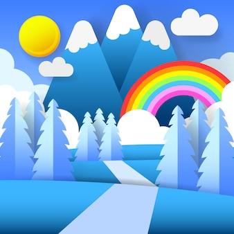 Natureza colorida da montanha e arco-íris