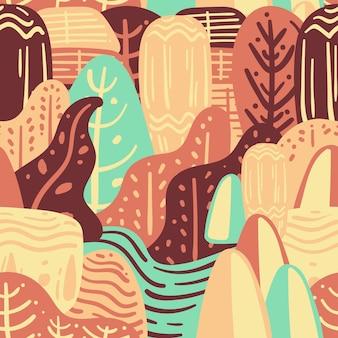 Natureza colorida doodle seamless pattern