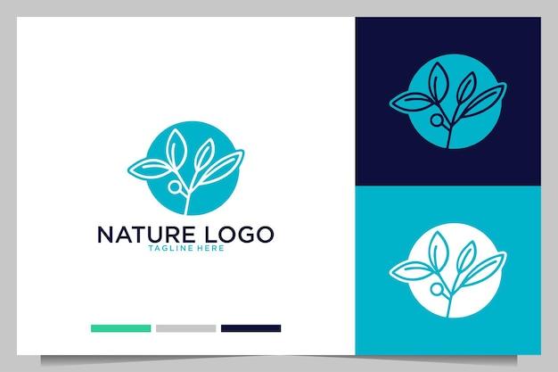 Natureza com design de logotipo de folha