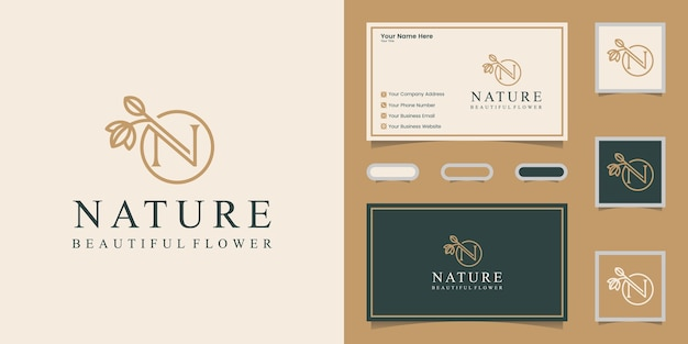 Natureza da letra n e modelo de logotipo de folha e cartão de visita