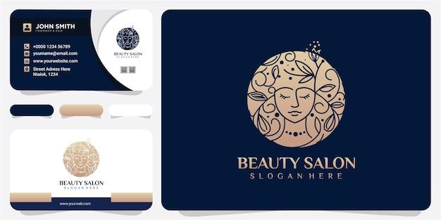 Natureza de beleza facial para conceito de design de logotipo de salão de beleza com cartão de visita