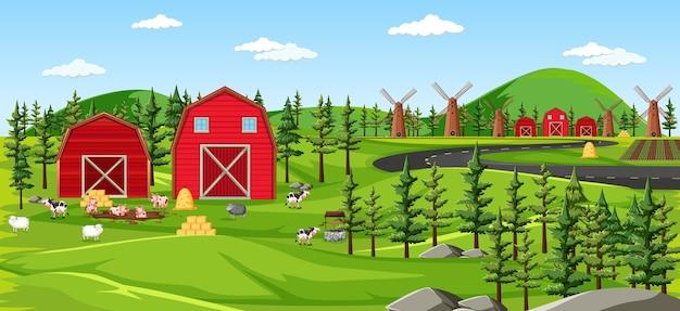 Natureza de fazenda com cenário de celeiros
