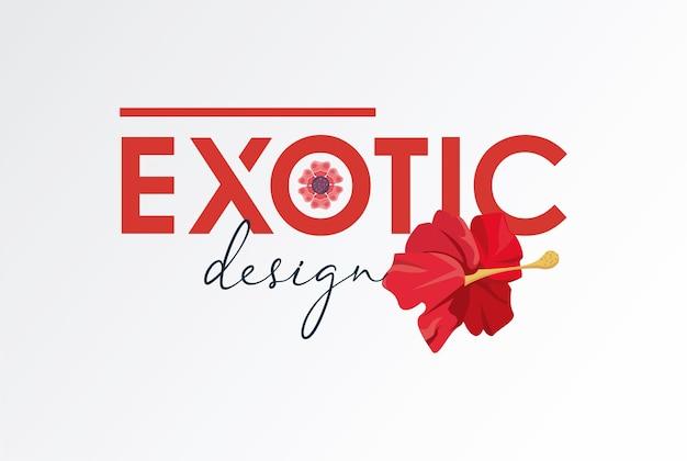 Natureza de pôster floral com design de ilustração de palavras exóticas