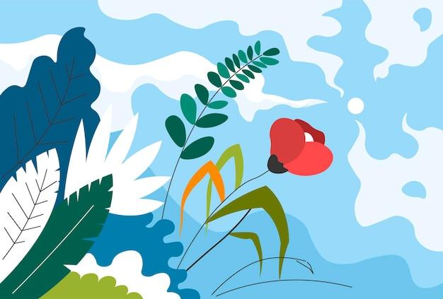 Natureza de verão e primavera e floração da flora