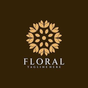 Natureza de vetor de logotipo de flor minimalista de beleza para hotel resort e spa