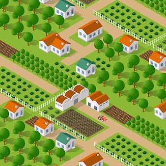 Natureza de vetor isométrica rural