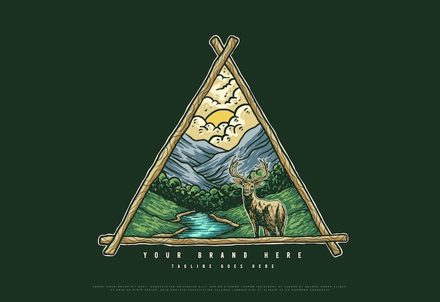 Natureza do logotipo ao ar livre com montanha e veados