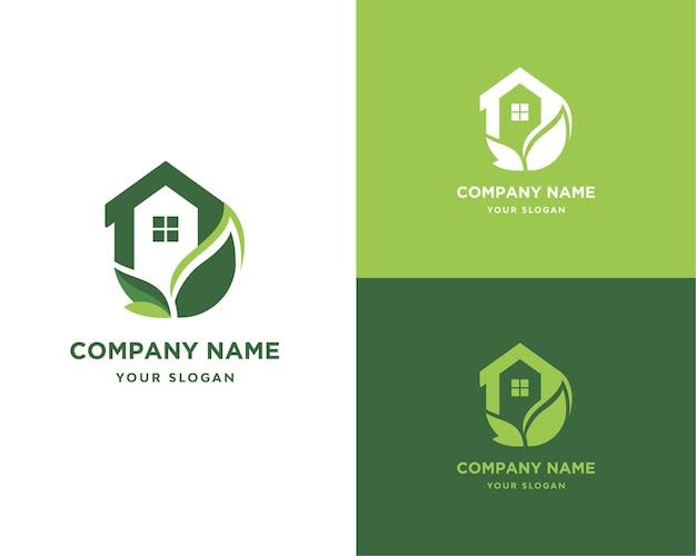 Natureza do logotipo da casa de folha verde