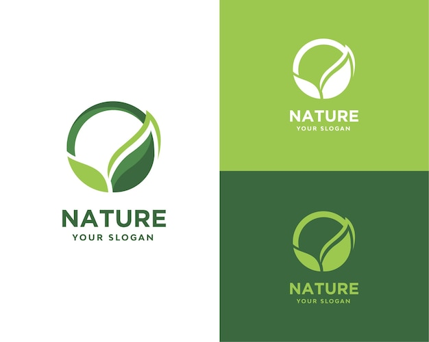 Natureza do logotipo da folha verde