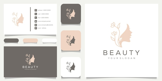 Natureza do rosto da mulher feminina com logotipo de estilo de linha de arte e flores, design de cartão de visita.