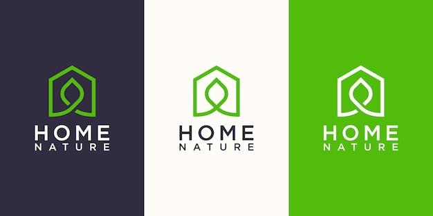 Natureza doméstica, casa combinada com folha. modelo de design de logotipo