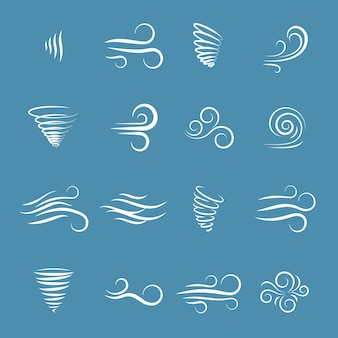 Natureza dos ícones do vento, ondas fluindo, clima frio, clima e movimento, ilustração vetorial