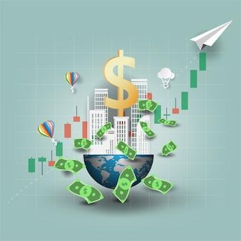 Natureza e cidade mundo empresarial gráfico de elementos de investimento investor world map