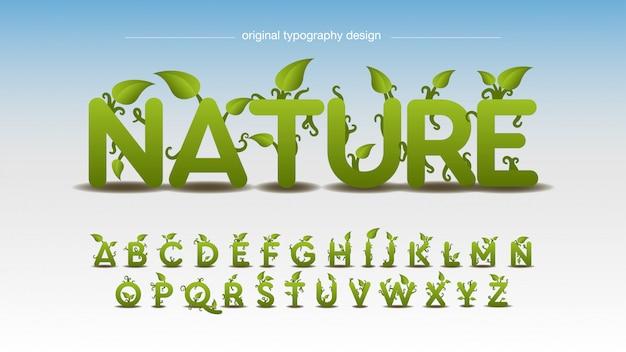 Natureza e design de tipografia de efeito de folhas