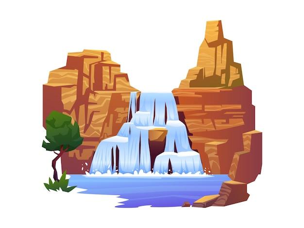 Natureza e fluxo de paisagem, montanhas rochosas e árvores exóticas