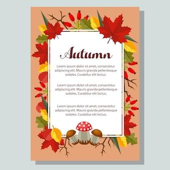 Natureza e folhas planas fundo outono