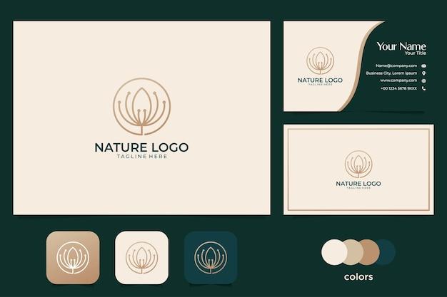 Natureza elegante com logotipo dourado e cartão de visita