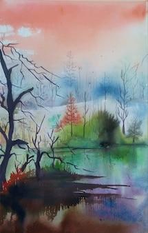Natureza em aquarela e paisagem de reflexão do lago