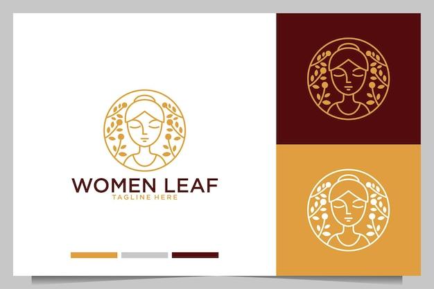 Natureza feminina com design de logotipo de folha
